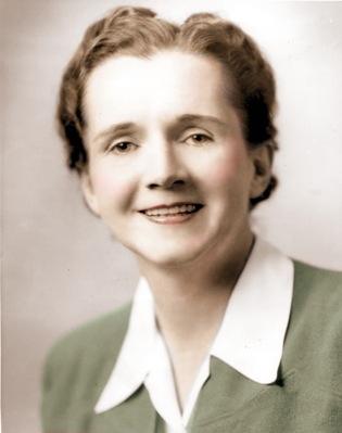 Rachel Carson-young, shoulders up, white color shirt,   smile